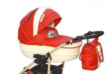 Wózek dziecięcy wielofunkcyjny 3w1 ecru czerwony
