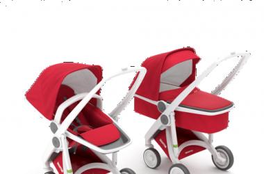 Zestaw wózek głęboki i spacerowy biało czerwony