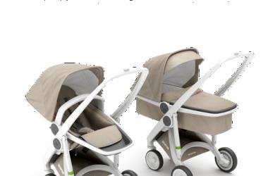 Zestaw wózki głębokie i spacerowe biało piaskowy