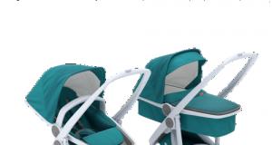 Zestaw wózek dziecięcy głęboki i spacerowy szaro zielony