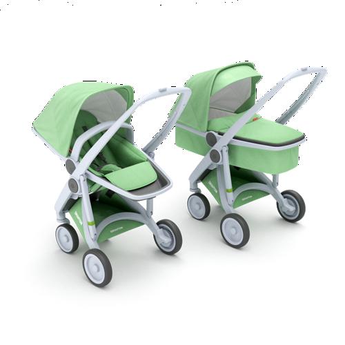 Zestaw wózek dziecięcy głęboki i spacerowy szaro miętowy