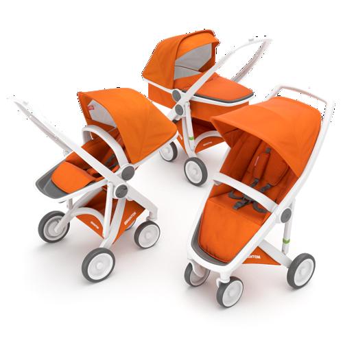 Zestaw wózek 3w1 głęboki spacerowy i klasyczny biało pomarańczowy