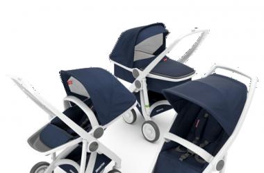 Zestaw wózek 3w1 głęboki spacerowy i klasyczny biało granatowy