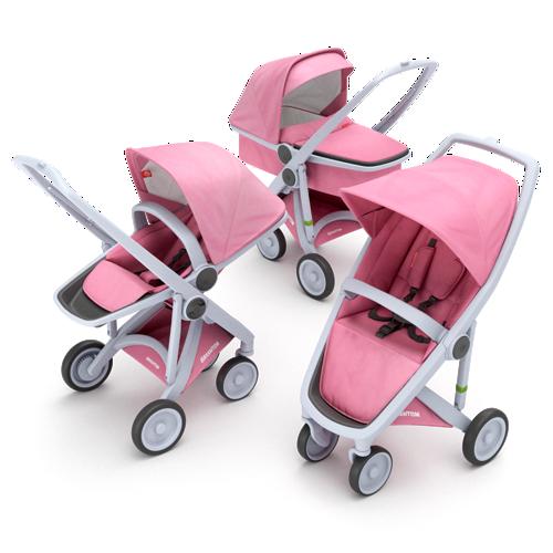 Zestaw wózek dziecięcy 3w1 głęboki spacerowy i klasyczny szaro różowy