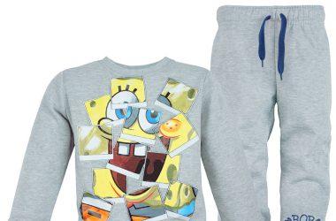 Super dres dla chłopca SpongeBob ubrania dziecięce kolor szary