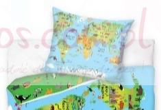 Edukacyjna pościel dla dzieci mapa świata