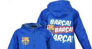 Dziecięca przeciwdeszczowa kurtka FC Barcelona niebieska