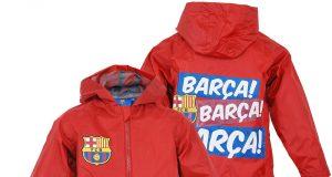 Przeciwdeszczowa dziecięca kurtka FC Barcelona czerwona