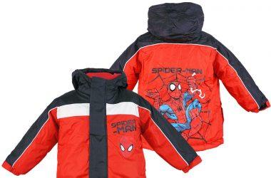 Zimowa kurtka Spiderman dla chłopca czerwona