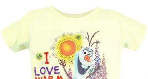 """Dziecięce koszulki z Frozen Kraina Lodu """"Warm Hugs"""" żółta"""