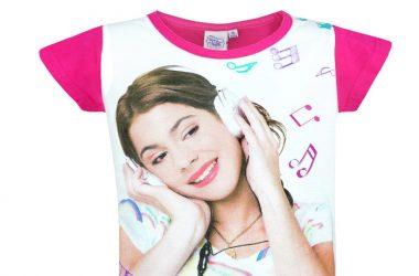 """Dziewczęca koszulka Violetty """"My Music"""" biało różowa"""