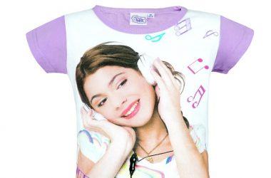 """Dziewczęca koszulka Violetty """"My Music"""" biało fioletowa"""