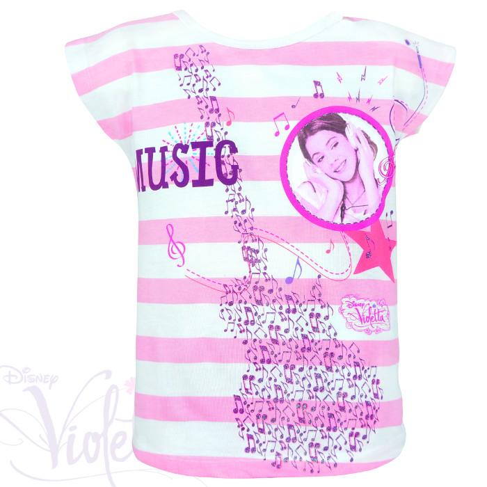 """Dziewczęce koszulki Violetty """"Guitar Music"""" biało – różowa"""