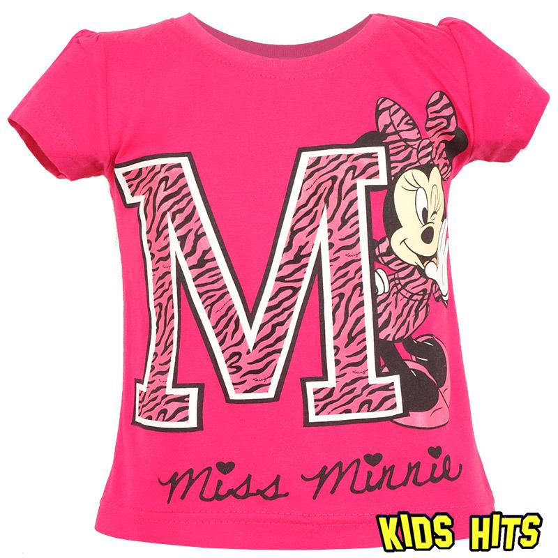 Dziewczęca koszulka Minnie Mouse ciemny róż