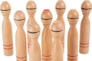 Gra kręgle dla dzieci drewniane