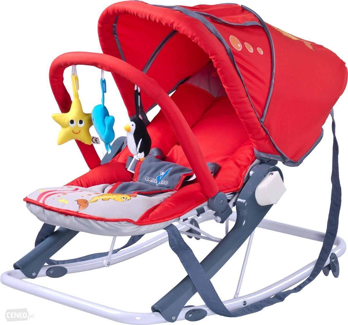 Leżaczki bujaczki dla dzieci z daszkiem kolor czerwony