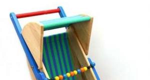 Drewniany wózek dla lalek spacerowy