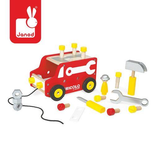Ciężarówka do ciągnięcia + narzędzia – zabawka dla dzieci