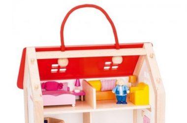Domek dla lalek w walizce drewniane zabawki dla dzieci