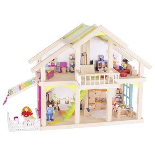 Śliczny domek dla lalek z drewna