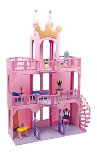 Drewniany zamek dla lalek bajkowy domek