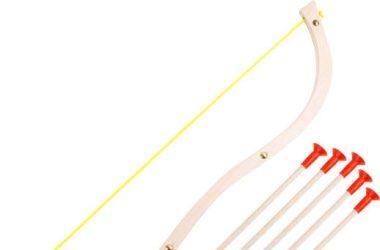 Drewniany łuk dla dzieci 5 strzałek gumowe końcówki
