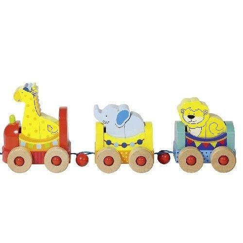 Drewniany pociąg ze zwierzakami