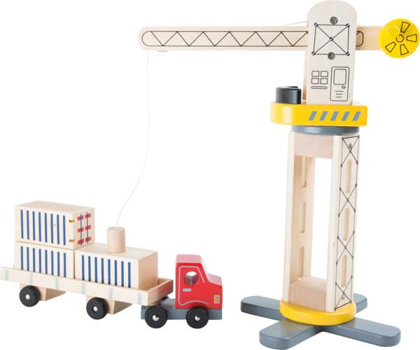 Dźwig drewniany i ciężarówka dla dzieci