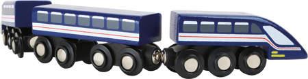 Drewniana kolejka na magnesy, pociąg Błękitna Błyskawica