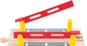 Przejazd kolejowy ze szlabanami zabawka do kolejek drewnianych