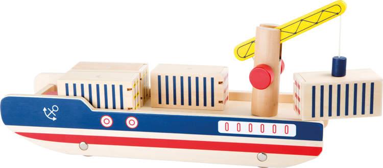 Drewniany statek zabawka kontenerowiec dla dzieci