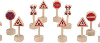 drewniane znaki drogowe dla dzieci - 12 szt