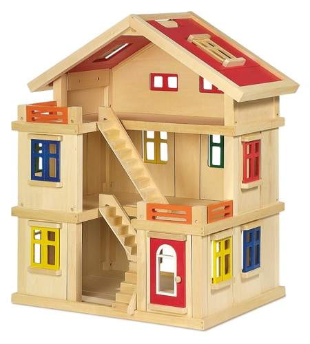 3 piętrowy Domek dla lalek drewniany