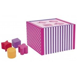 sorter kształtów dla dzieci drewniany różowy