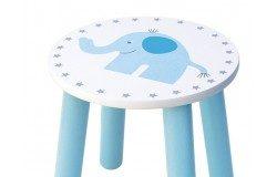 Drewniane krzesełko dla dzieci niebieski słoń