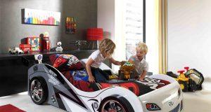 Łóżko samochód dla chłopca Braby biały