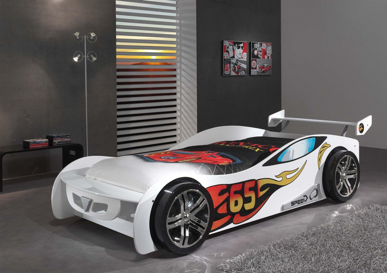 Łóżko samochód wyścigowy dla dziecka Lemans biały