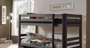 Podwójne łóżko dla dzieci piętrowe Pino sosna ciemnoszara