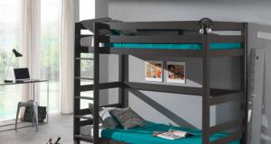 Piętrowe łóżko dla dzieci Pino sosna ciemnoszara