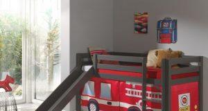 Łóżko ze zjeżdżalnią dla dzieci piętrowe Pino - sosna ciemnoszara