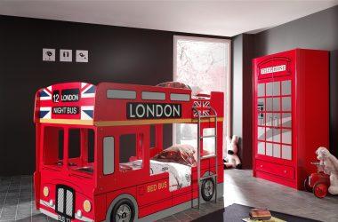 Piętrowe łóżko autobus czerwony London Bus