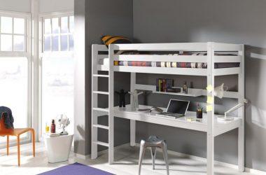 Dziecięce łóżko piętrowe z biurkiem Pino - sosna biała