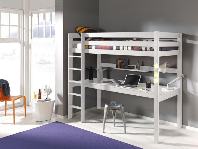 Dziecięce łóżko piętrowe z biurkiem Pino – sosna biała