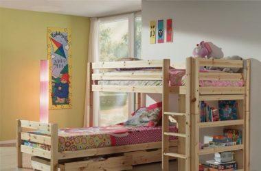 Łóżko dziecięce piętrowe Pino - sosna naturalna