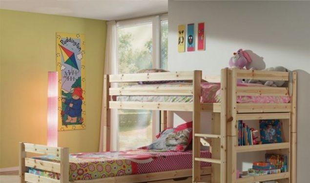 Łóżko dziecięce piętrowe Pino – sosna naturalna