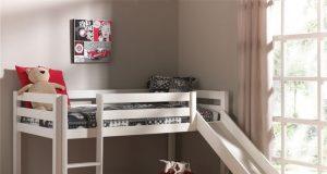 Dziecięce łóżko ze zjeżdżalnią Pino - sosna biała