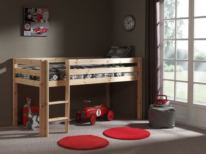 Pojedyncze łóżko piętrowe dla dzieci Pino – sosna naturalna