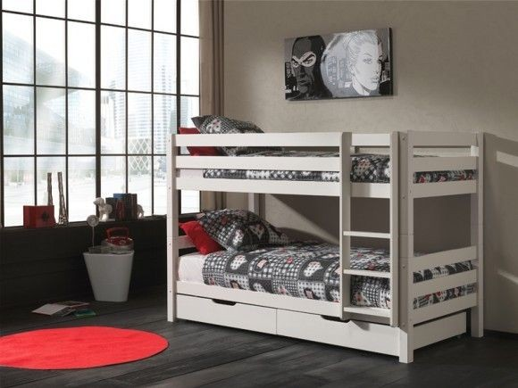 Piętrowe łóżko dla bliźniaków Pino - sosna biała