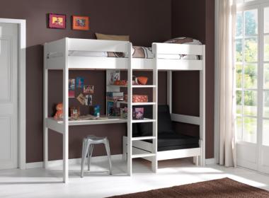 Piętrowe białe łóżko z biurkiem Pino Sofabed