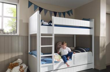 Białe łóżko piętrowe dla dzieci - Robin
